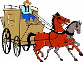 pic of bronco  - Illustration of a stagecoach driver riding a carriage driving two horses on isolated white background done in cartoon style - JPG