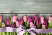 Tulips with a bow on wooden background