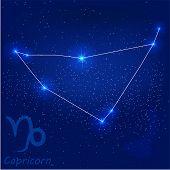picture of capricorn  - vector illustration of constellation - JPG