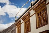 Tibetan House and blue sky in Jammu-Kashmir Ladakh ,India - September 2014