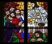 VIENNA, AUSTRIA - OCTOBER 10: Last supper, Stained glass in Votiv Kirche (The Votive Church). It is a neo-Gothic church in Vienna, Austria on October 10, 2014