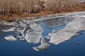 Thawing ice floats down river