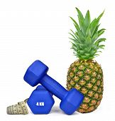 Blue fitness dumbbells with pineapple