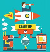 Vector Concept Of Business Start Up And Optimization. Business Management