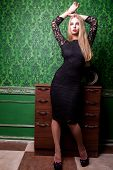 Beautiful Woman Full Body In Green Vintage Room