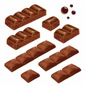 Porous and milk chocolate pieces. vector isolated.