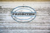 Priorities sign on shed side