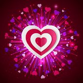 Happy Valentine's day  glow holiday background with shining soft hearts, blurred bokeh lights, photo