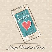 Valentine Card With Smart Phone And Red Heart,  Vector