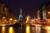 Grunwald Monument on Jana Matejki Square at night Krakow