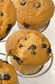 Chocolate Chip Muffin On A Metal Cake Stand