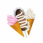 Ice cream waffle cone and Cake potatoes.