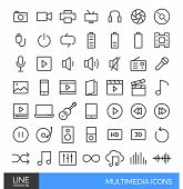 Multimedia thick line icons