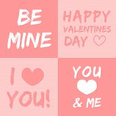 Valentines day vector illustration and typography elements