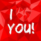 I love you red vector card with heart on red wrapping surface background