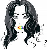 Vector Image A Girl With Lips The Color Of The Rainbow.eps