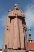 RIGA, LATVIA - AUGUST 4, 2013: Soviet era monument for the Latvian Riflemen in Riga, Latvia.