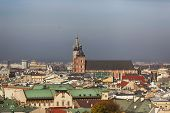 View of Krakow from a height of pile up
