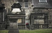 Antique Facades And Cemetery In Edinburgh City Downtown. Scotland. Uk
