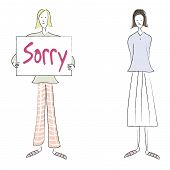 image of saying sorry  - an illustration of a woman saying sorry to another girl - JPG