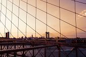Manhattan Bridge from Brooklyn bridge New York City skyline USA