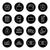 Money and Finance Line Icons Collection. Set of 16 money and finance related line icons in black circles.