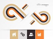 Abstract infographics layout design with web and social media icons for business purpose.