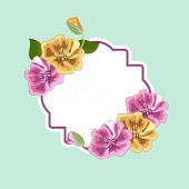 Illustration of a frameand sticker decorated with vintage flowers and space for your message on simple blue background.
