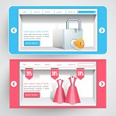 Creative presentation website header or banner design with sale and security page.