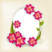 pic of oval  - Illustration of a frame in oval shape decorated with shiny pink and golden flowers with green leaves and space for your message - JPG