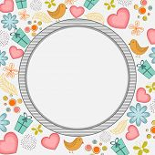 Happy Valentines Day celebration with blank rounded frame on seamless background.