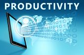 picture of productivity  - Productivity illustration with tablet computer on blue background - JPG