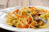 Cabbage Ragout With Carrot, Chili, Mushrooms And French Mustard Closeup Macro