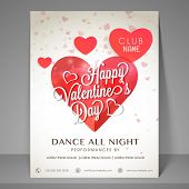 Happy Valentines Day celebration night party flyer decorated by red shiny hearts.