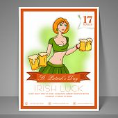 Stylish flyer, banner or template with young leprechaun girl holding beer mug for St. Patrick's Day party celebration.