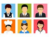 Colorful set of different professions avatars on white background.