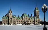 OTTAWA CANADA JANUARY 20, 2014: View of the East block of parliament hill in Ottawa, Canada