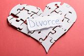 Divorce Label On Heart Made Of Puzzle
