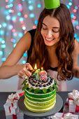 Girl with happy birthday cake