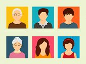 Colorful set of family characters with grandfather, grandmother, father, mother and little children.