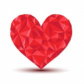 polygonal ruby heart with reflection and shadow
