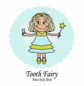 foto of tooth-fairy  - emblem with a little fairy that holds the tooth and the magic wand - JPG