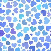 Blue heart seamless pattern on Valentines day
