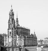 foto of trinity  - Dresden Cathedral of the Holy Trinity aka Hofkirche Kathedrale Sanctissimae Trinitatis in Dresden Germany in black and white - JPG