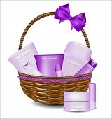 Set Of Different Beauty Products In A Wicker Basket. For Women.