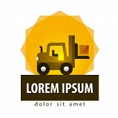 forklift truck vector logo design template. car or warehouse icon.