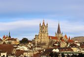 Switzerland. Lausanne. View Of The Gothic Cathedral