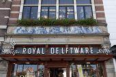 DELFT,NETHERLANDS - SEPTEMBER 17, Facade of a souvenir shop