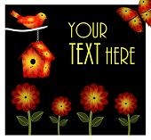 Orange and Yellow Flowers and Bird and Birdhouse Background