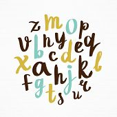 Alphabet Letters. Hand Drawn Style. Written with a Soft Brush.